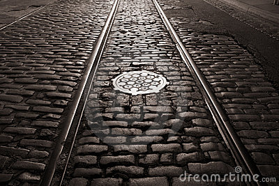 Old trolley tracks and cobblestones