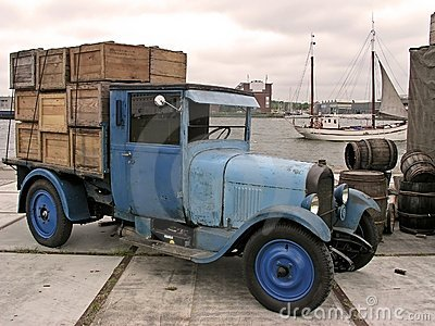Old truck with load in Amsterdam harbor