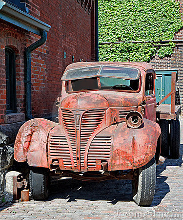 Old truck and old buildings