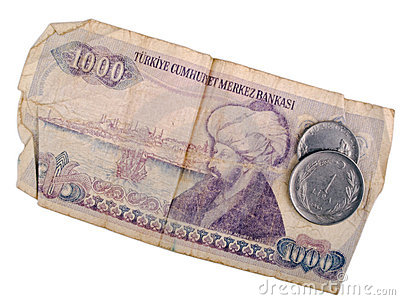 Old Turkish banknote and coins