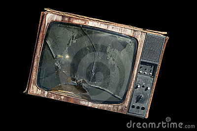 Old TV with a broken screen