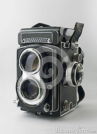 Old twin-lens reflex camera