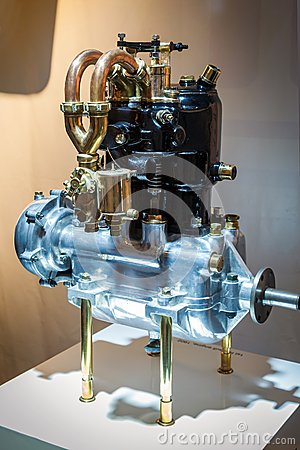 Old two-cylinder car engine