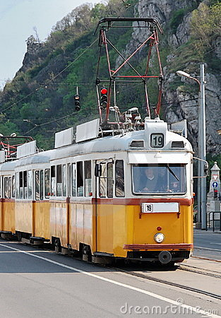 Old type yellow tram