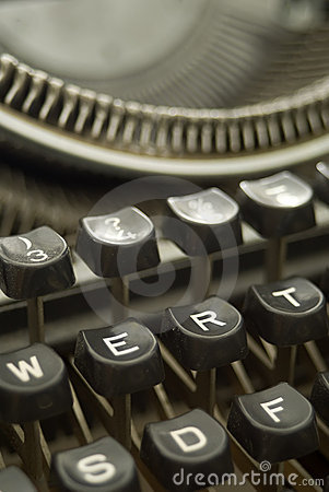 Old typewriter - bakelite keys close-up