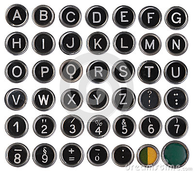 Old typewriter keys, alphabet and numbers