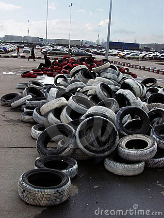 Old tyres and parking lot