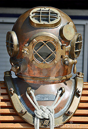Old U.S. Navy Diving Helmet Editorial Image