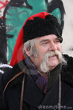 Old ukrainian Cossack with long whiskers 1