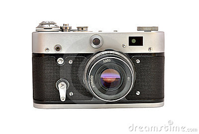 Old used dirty old-fashioned film photocamera