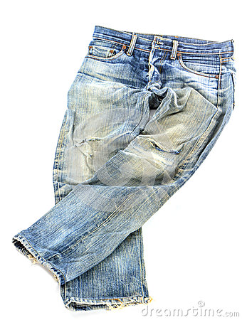 Free Old Used Jeans Trousers Isolated Stock Photography - 34705612