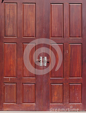Free Old Used Weathered Abandoned Red Brown Colour Hard Wood Double Door Royalty Free Stock Photos - 74403378