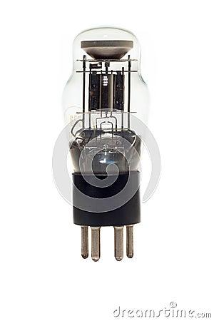 Old vacuum tube isolated on white
