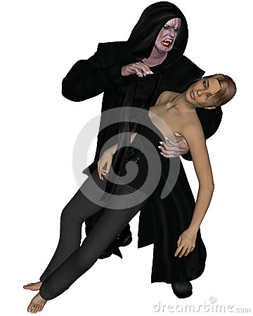 Old Vampire with Beautiful Young Victim