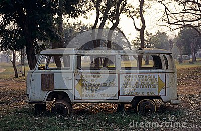 An old van in the Gorongosa National Park Editorial Stock Image