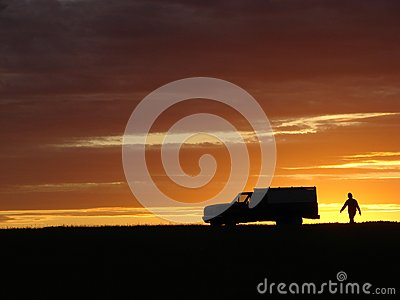 Old vehicle at sunset