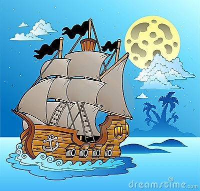 Free Old Vessel In Night Seascape Royalty Free Stock Image - 18474716