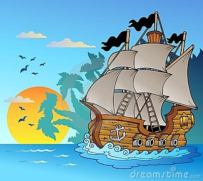 Free Old Vessel With Island Silhouette Stock Photography - 18474732