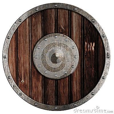 Old Viking Wooden Shield Isolated Stock Image Image