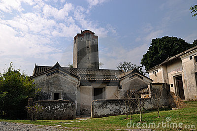 Old village and watchtower in China