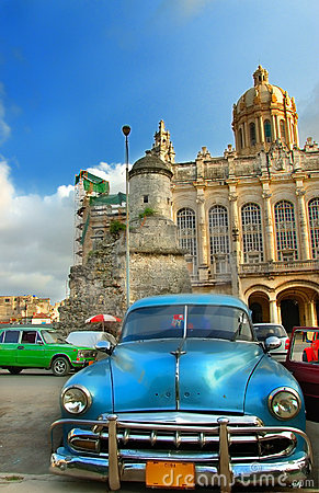 Old vintage american blue car in Havana City