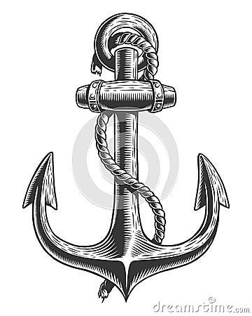 Old vintage anchor Vector Illustration