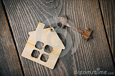 Old vintage apartment key