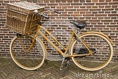 Old vintage bicycle with basket