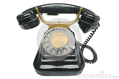 Old vintage black phone with disc dials