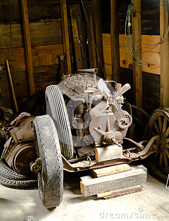 Old Vintage broken down car engine