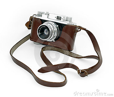 Old vintage camera in a leather case