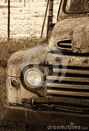 Old vintage car with single light