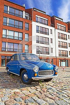 Old vintage car on the street of Gdansk