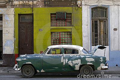 Old vintage car on the street.  Havana, Cuba