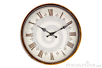 Old vintage clock face on white background