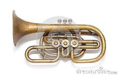 Old vintage copper trumpet