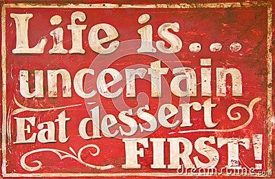 Old vintage dessert sign