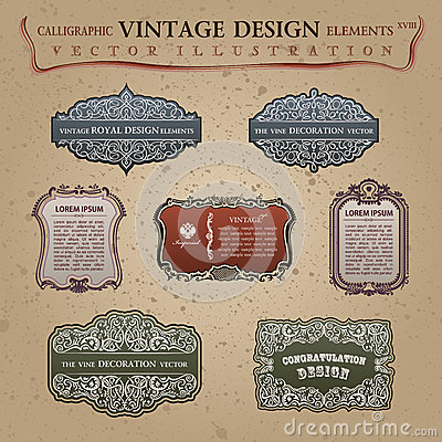 Old vintage frames elements labels Congratulation