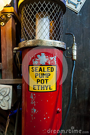 Old and vintage gas station sealed pump pot Ethyl