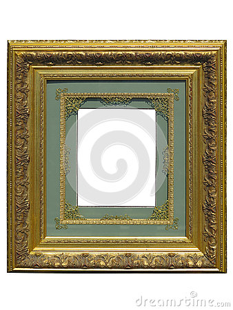 Free Old Vintage Golden Picture Frame Isolated On White Stock Image - 60162691
