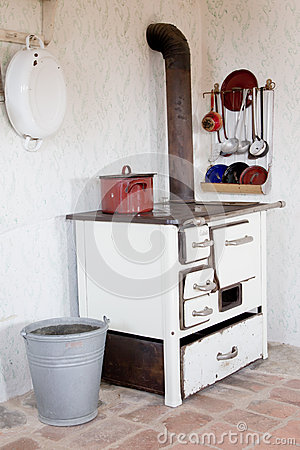 Old vintage kitchen at that time - Stock Photo