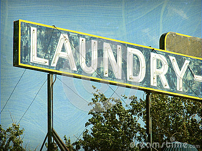 Old vintage laundry sign