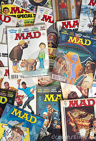 Old Vintage Mad Magazine Cartoon Comic Books Editorial Stock Image