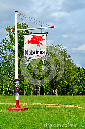 Old Vintage Mobilgas Station Sign Socony Vacuum Editorial Stock Photo