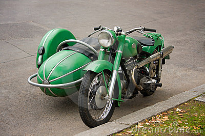 Old vintage motorcycle with sidecar