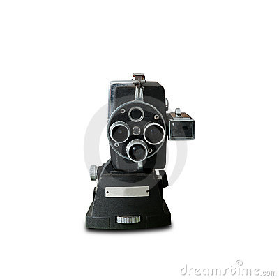 Old vintage  movie camera isolate on white