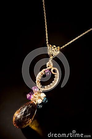 Old vintage necklace with semi-precious stones XXL