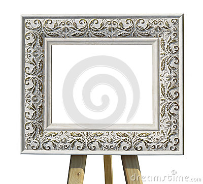 Free Old Vintage Ornate White Picture Frame On A Stand With Pattern I Stock Images - 66511634