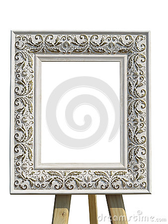 Free Old Vintage Ornate White Picture Frame With Pattern Isolated Stock Image - 58908031