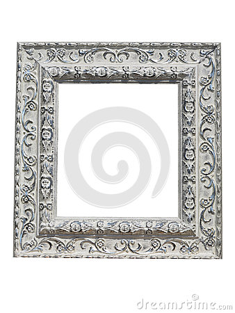 Free Old Vintage Ornate White Picture Frame With Pattern Isolated Stock Photo - 63342960
